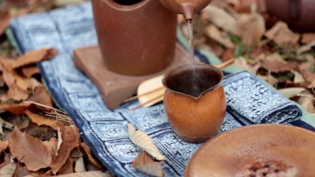 classical tea ceremony. - dito umano video stock e b–roll