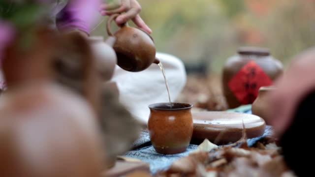 classical tea ceremony. - teekessel stock-videos und b-roll-filmmaterial