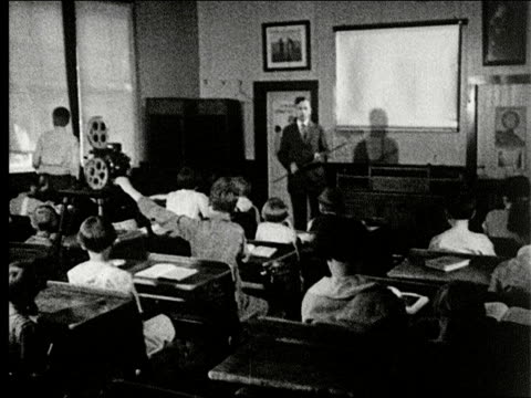 classroom, movie plays on screen, child raises hand and answers question from the teacher / school, film projector, student raises window shade, girl... - projection equipment stock videos & royalty-free footage