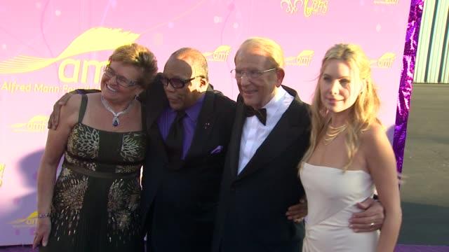 Claude Mann Quincy Jones Alfred Mann Cassandra Mann at the The Alfred Mann Foundation's Annual BlackTie Gala at Santa Monica CA