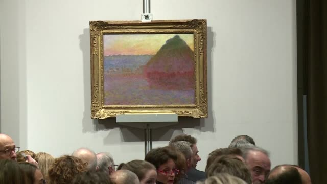 a claude monet painting meule part of his famous grainstack series sells for 814 million dollars at auction in new york a record for the french master - haystack stock videos & royalty-free footage
