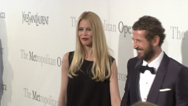 Claudia Schiffer and Stefano Pilati Creative Director of Yves Saint Laurent at the The Metropolitan Opera's 125th Anniversary Gala at New York NY