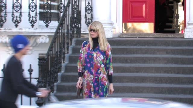 claudia schiffer takes their child to school in west london, uk - school child stock videos & royalty-free footage