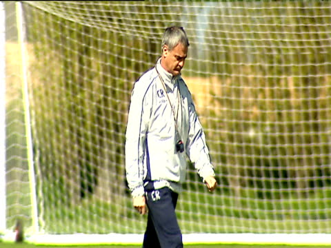 Claudio Ranieri walking along training pitch during Chelsea FC training session London 24 Apr 04