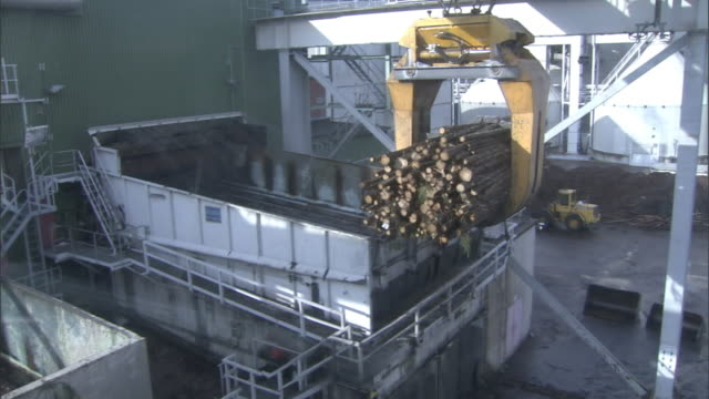 A claw crane lifts a bundle of logs at a paper mill.