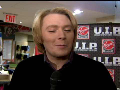 Clay Aiken on wishing his mother a Happy Mother's Day at the Clay Aiken Signs Copies of His New Album 'On My Way Here' at Virgin Megastore in New...