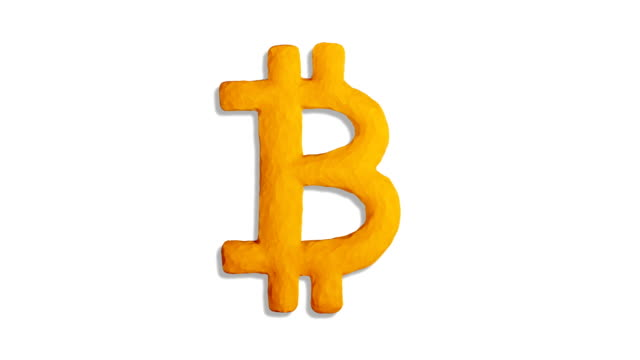 clay bitcoin symbol on white & black - bitcoin stock videos and b-roll footage