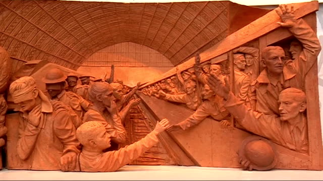 clay model of frieze by paul day displayed at st pancras international england london st pancras international int general views of clay model of... - fries säulengebälk stock-videos und b-roll-filmmaterial