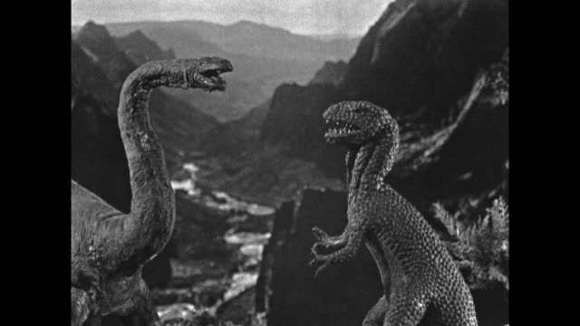 1925 Clay stop motion dinosaurs fight on cliff edge