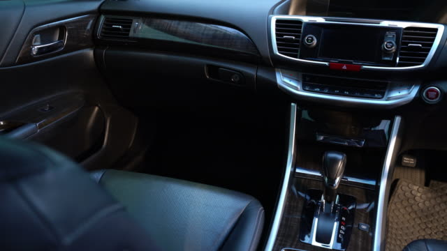 clean console modern car, black indoor design - dashboard stock videos & royalty-free footage
