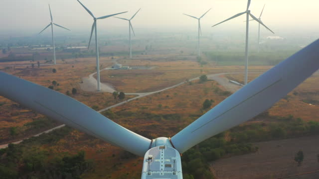 clean energy winds turbine aerial view - 30 seconds or greater stock videos & royalty-free footage