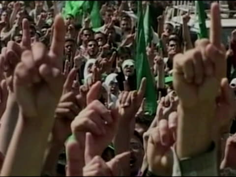 hamas demonstration in jerusalem against the israeli wall - hamas stock videos & royalty-free footage