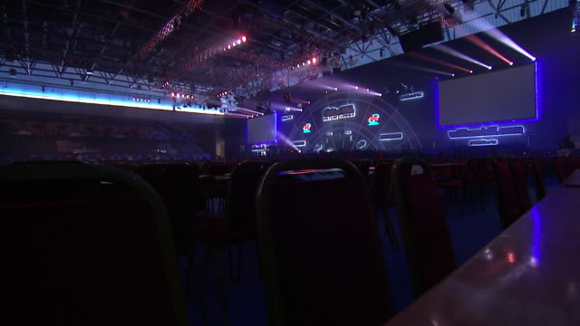 interior shots of alexandra palace ahead of the world darts championship on the 13th december 2019 in london england - world sports championship stock videos & royalty-free footage