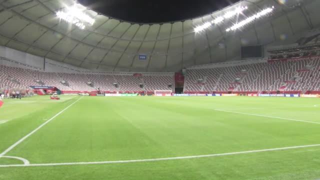 interior shots of the khalifa international stadium before hosting the club world cup semi- finals on 16th december in doha, qatar. - qatar stock videos & royalty-free footage