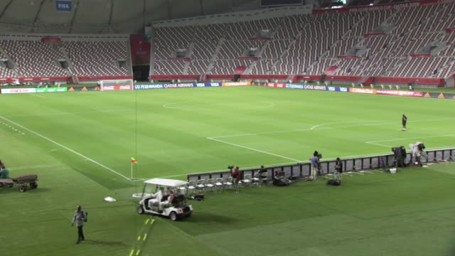 interior shots of the khalifa international stadium before hosting the club world cup semi- finals on 16th december in doha, qatar. - fifa stock videos & royalty-free footage