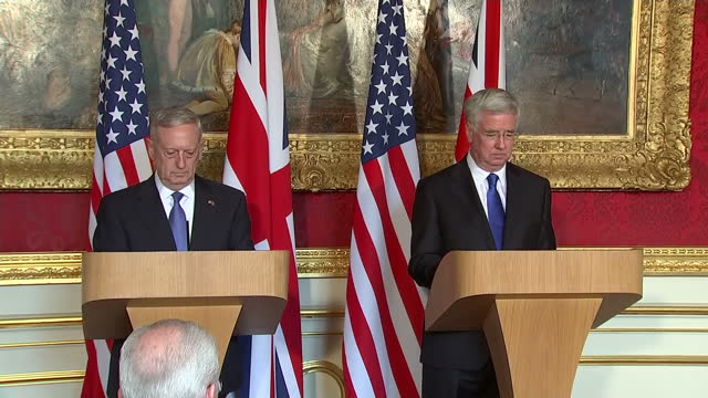 Interior shots of UK Secretary of State for Defence Michael Fallon and his US counterpart James Mattis walking in to hold a bilateral press...