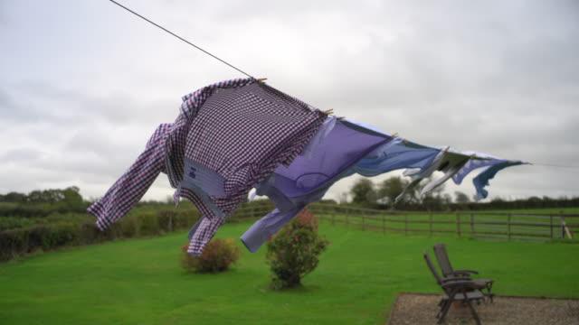 stockvideo's en b-roll-footage met clean mens shirts on the washing line. - wasknijper