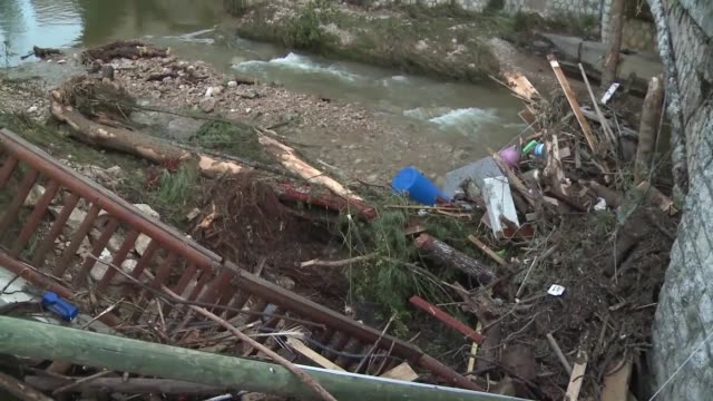 clean up resumed early monday morning in biot in the south of france between cannes and nice hit by violent storms and flooding over the weekend that... - 2015 stock videos & royalty-free footage
