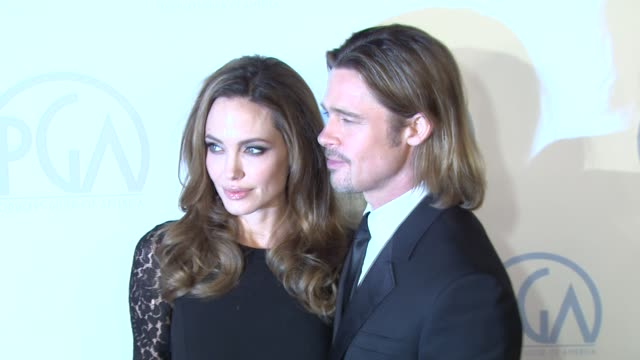 vídeos de stock, filmes e b-roll de 23rd annual producers guild awards los angeles ca united states 1/21/12 - brangelina casal