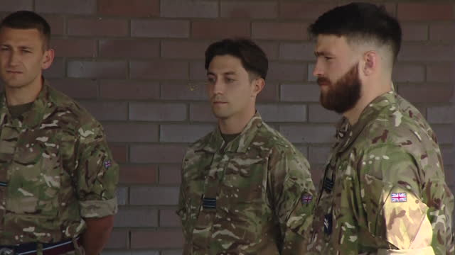 exterior shots duchess of cambridge visits brize norton to meet military personnel who helped with afghan evacuation effort on 15th september 2021 in... - report produced segment stock videos & royalty-free footage