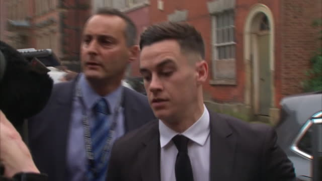 exterior shots footballers tom lawrence and mason bennett arriving at derby magistrates court england on 15th october 2019 for senencing on drink... - drinking and driving stock videos & royalty-free footage