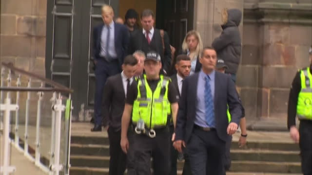 exterior shots footballers tom lawrence and mason bennett leaving derby magistrates court england on 15th october 2019 after senencing on drink... - drinking and driving stock videos & royalty-free footage