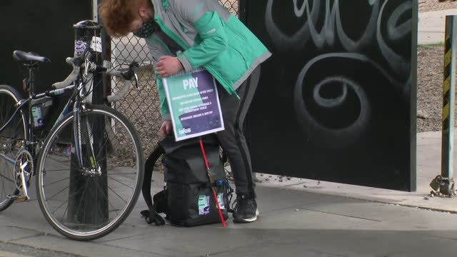 GBR: Deliveroo drivers strike in London over pay and conditions.