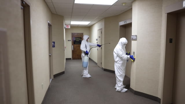 cleaning and disinfecting office - health and safety stock videos & royalty-free footage