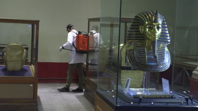 cleaning crews descend upon the landmark egyptian museum of cairo dousing it with disinfectants as fears mount over the spread of the novel... - egitto video stock e b–roll