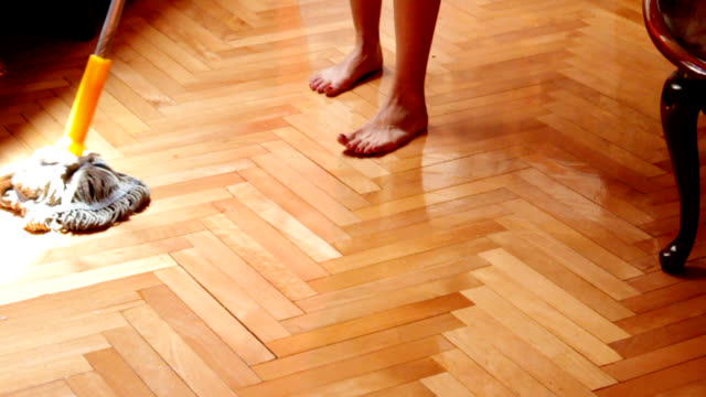 cleaning hardwood floor - wooden floor stock videos & royalty-free footage