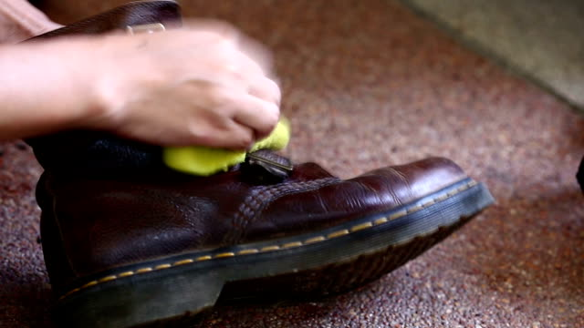 cleaning shoe - leather stock videos and b-roll footage