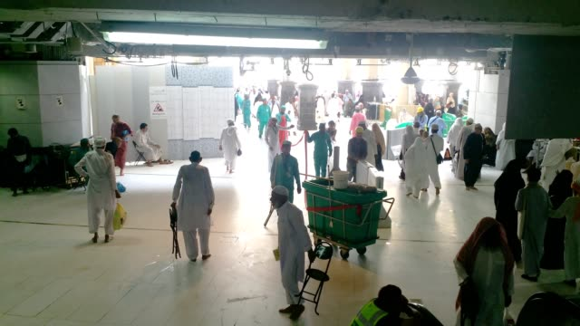 cleaning team preparing for cleaning inside the al haram mosque - execution stock videos & royalty-free footage