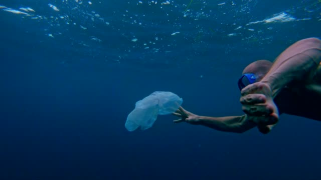 cleaning the ocean. man catching plastic bag under sea surface - responsibility stock videos & royalty-free footage