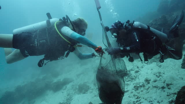 cleaning the ocean one dive at a time - aqualung diving equipment stock videos & royalty-free footage