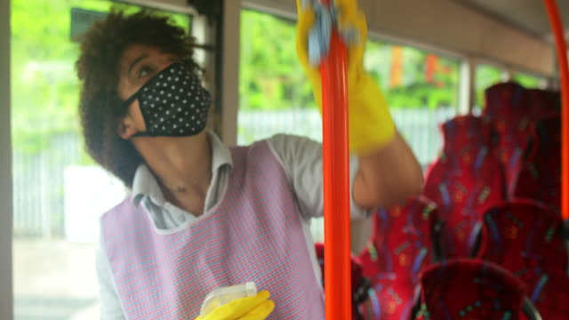 cleaning to prevent illness - public transport stock videos & royalty-free footage