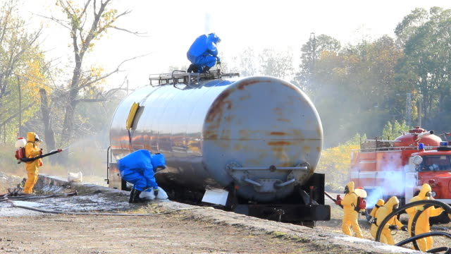 cleaning up after chemical accident - toxic waste stock videos & royalty-free footage