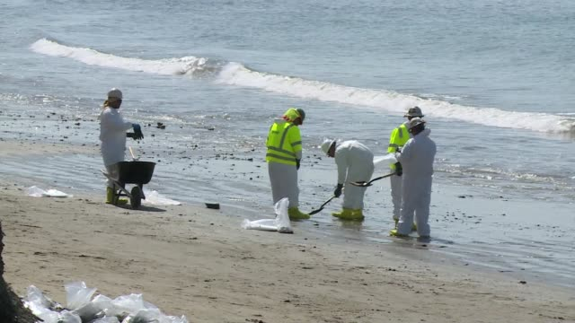 vídeos y material grabado en eventos de stock de cleaning was still underway friday on beaches around santa barbara where 300 people are busy removing oil the after a pipeline rupture dumped... - galón