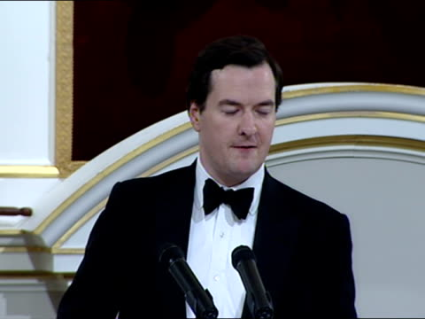 interior shot chancellor george osborne addresses the audience at the lord mayor's annual dinner at the mansion house in the city of london he told... - lord mayor of london city of london stock videos & royalty-free footage