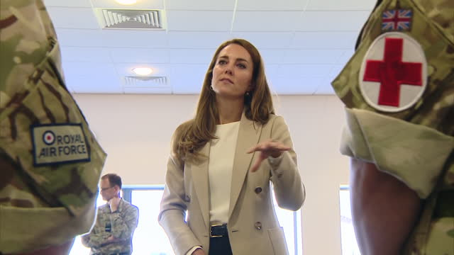 GBR: Duchess of Cambridge visits Brize Norton to meet military personnel who helped with Afghan evacuation effort