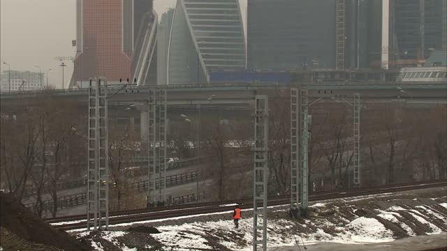 shots of the moscow's business district on a winters day. shows exterior wide shots of the city's business district among the mist on december 17,... - financial item stock videos & royalty-free footage