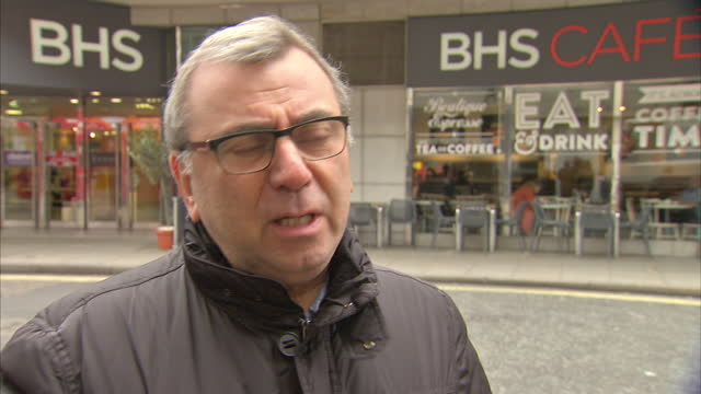 shows exterior interview soundbite with richard hyman retail analyst on uk retail market after 88 years on the high street today came the news bhs's... - liquidation stock videos and b-roll footage