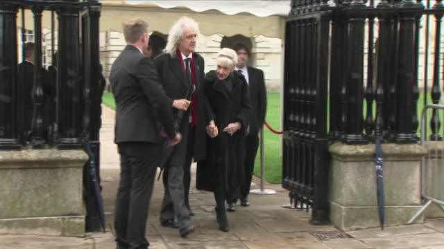 Shows exterior shots musician Brian May arriving with his wife for the funeral of Stephen Hawking The funeral of Professor Stephen Hawking is being...