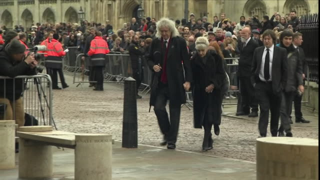 Shows exterior shtos musician Brian May arriving for the funeral of Stephen Hawking The funeral of Professor Stephen Hawking is being held this...