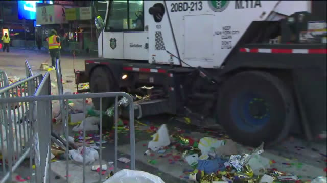 WPIX CleanUp in Times Square After New Year's Eve Celebration in New York City on Jan 1 2018