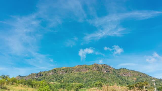 vídeos y material grabado en eventos de stock de cielo azul y la gran montaña - mckyartstudio