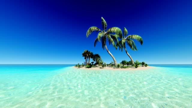 Clear blue sky over tropical island