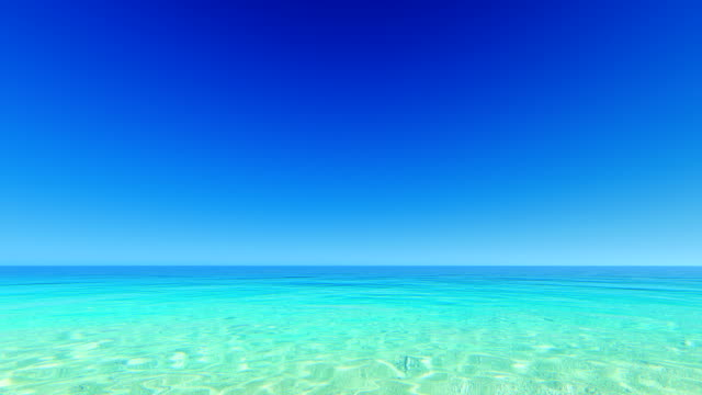 Clear blue sky over tropical ocean