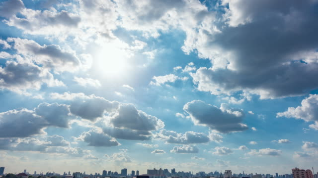 clear blue sky with cloud scape. - sun stock videos & royalty-free footage