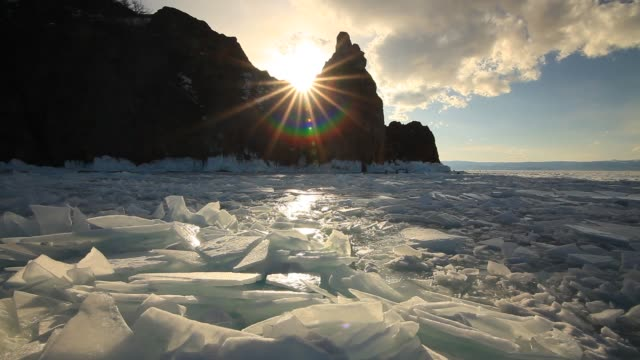 Clear ice at sunset, Lake Baikal