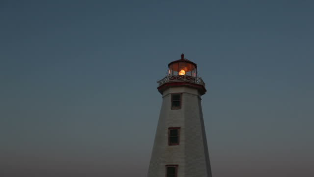 clear night sky behind lighthouse on prince edward island - lighthouse stock videos & royalty-free footage